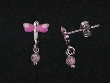 18kt Enamel Butterfly Earrings