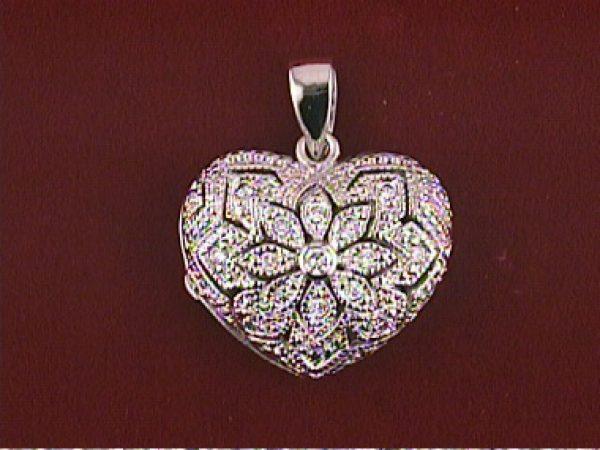 Silver Heart Shaped Locket W/ C Z