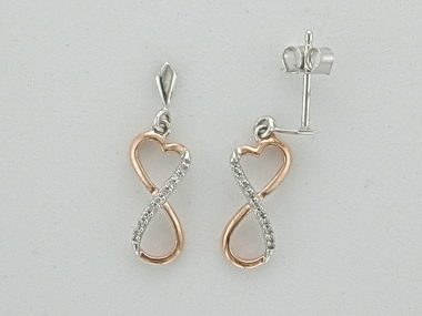 Pink & Silver Infinity Earrings