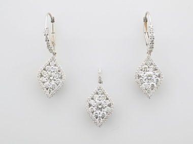Diamond Earrings and Pendant Set
