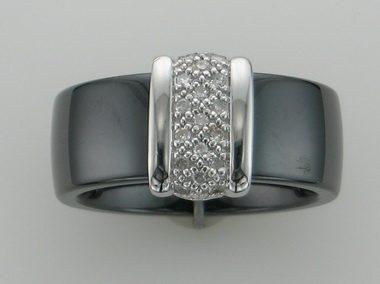 9kw Black Ceramic & Diamond Ring