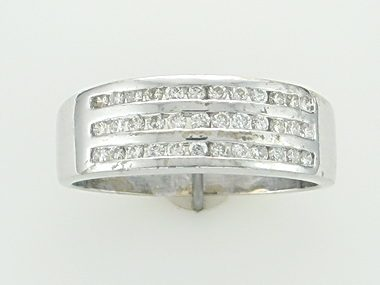 Triple channel ring with diamonds