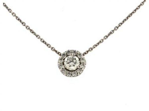Diamond Halo Pendant and Chain
