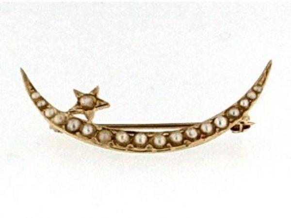 Moon Seed Pearl Brooch