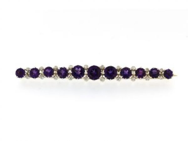 Amethyst & Diamond Brooch