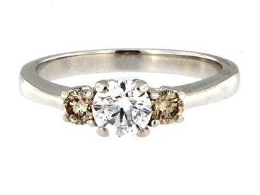 White & Champagne Diamond Ring