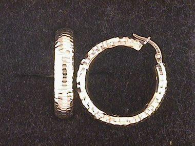 14ky Facet Hoop Earrings