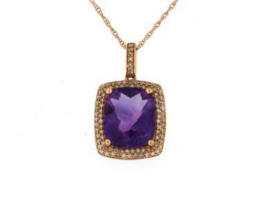 Amethyst & Diamond Pendant