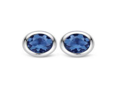Dark Blue Crystal Silver Stud Earrings