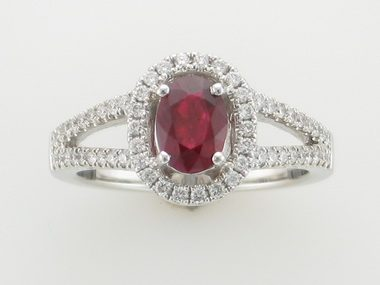 18KW Ruby & Diamond Halo Ring