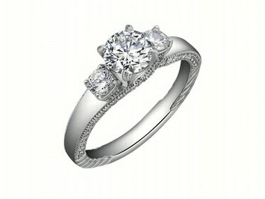 Cubic Trinity Engagement Ring