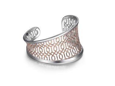Silver & Rose Lattice Cuff Bracelet