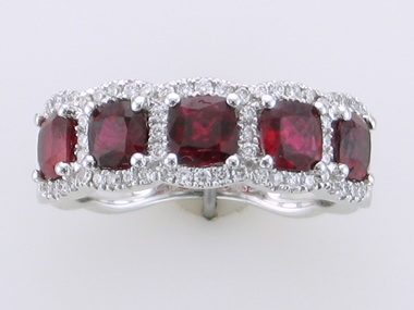 Cushion Ruby & Diamond Ring