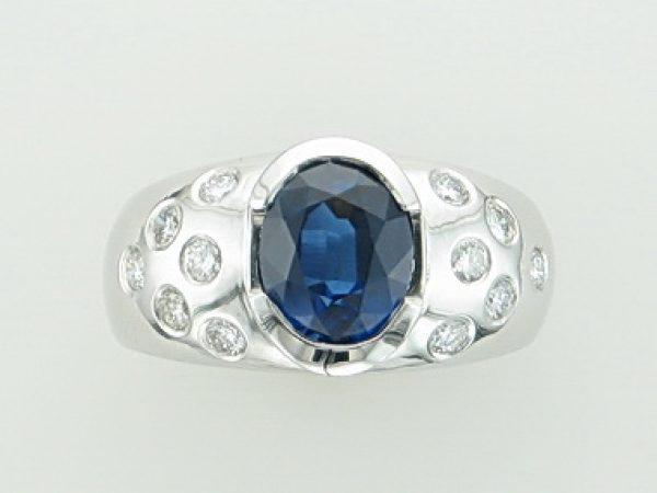 2 Ct Sapphire & Diamond Ring