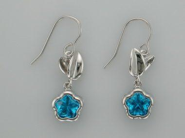 Blue Bflower Earrings