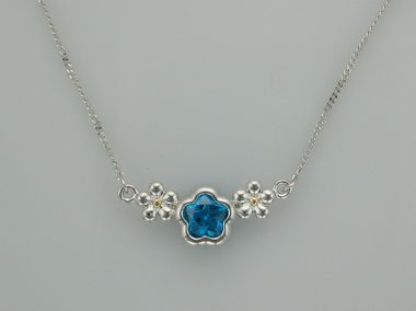 Blue Bflower Silver Necklace