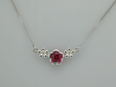 Fuchsia Bflower Silver Necklace