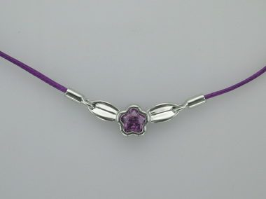 Purple Bflower With Leaf Necklace