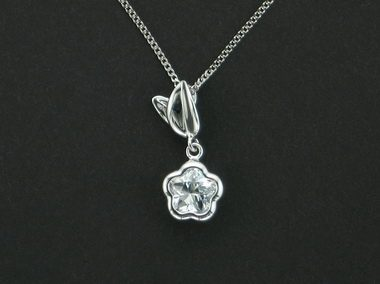 White Bflower With Leaf Pendant