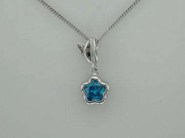 Blue Bflower With Leaf Pendant