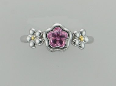 Pink Bflower Silver Ring
