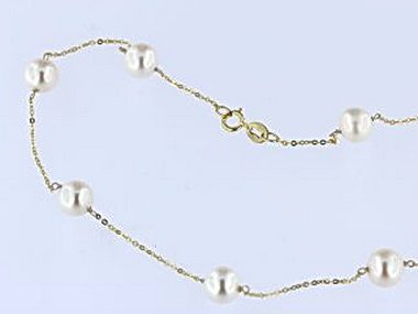 Tin Cup Pearl Necklace