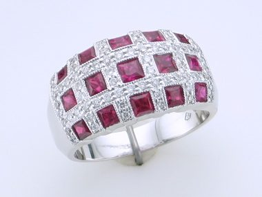 Modern Ruby And Diamond Ring