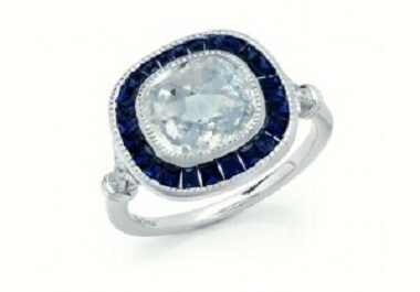Sapphire Halo Cubic Ring