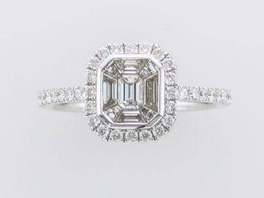 .83 Emerald Cut Pavee Ring