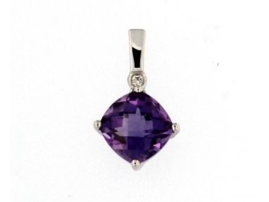 14kt Amethyst Diamond Pendant