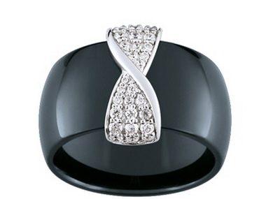Black Ceramic & Silver Ring