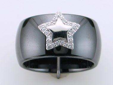 Black Ceramic Silver Star Ring
