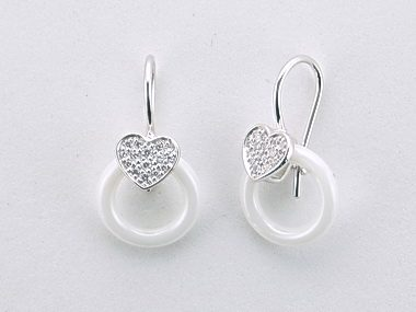 Heart & White Circle Earrings