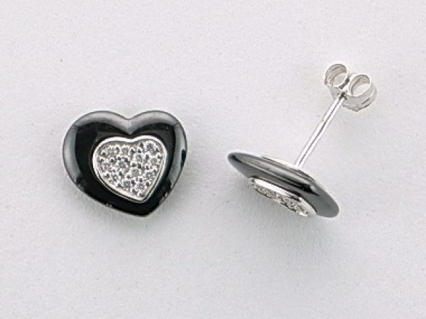 Cz Black Heart Stud Earrings