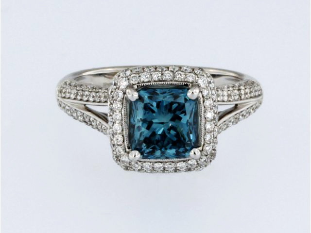 1.82 Carat Blue Diamond Ring