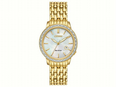 Ladies Diamond Goldtone Watch