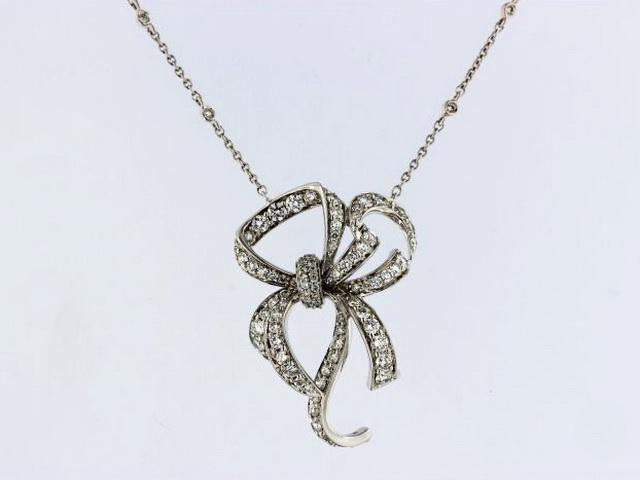 Diamond Bow Necklace