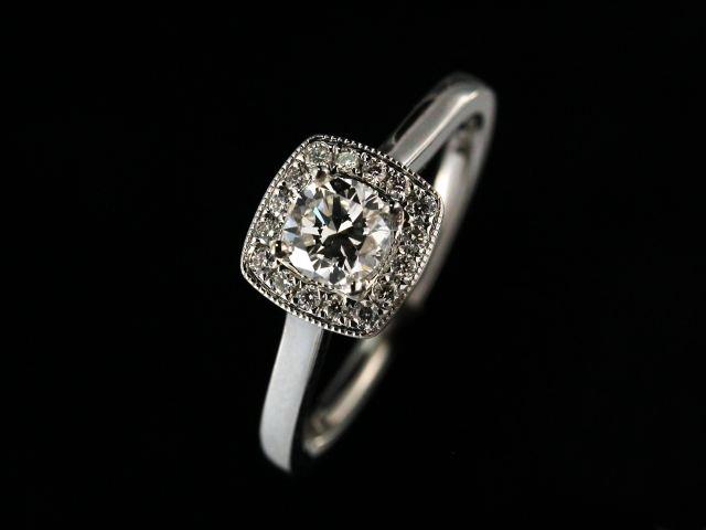 0.54 ctw Halo Engagement Ring