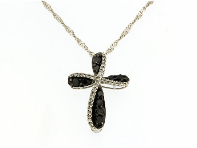 Black & White Diamond Cross Pendant