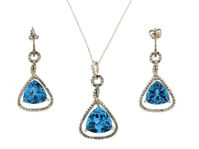 Blue Topaz Earring & Pendant Set