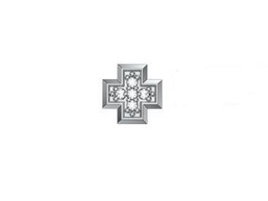 18K White Gold Cross with Diamonds