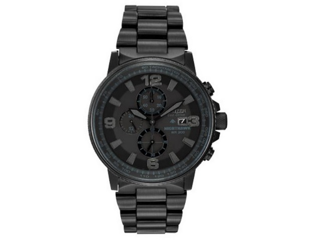 Gents Black Eco-drive Chronograph