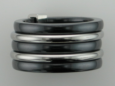 Black Ceramic And Steel Ring