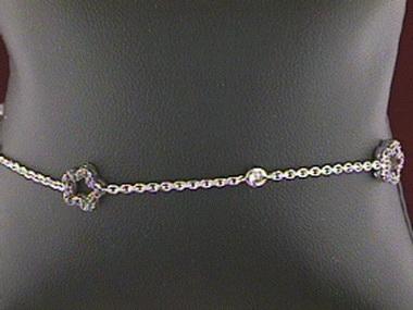 18kt C Z Clover Bracelet
