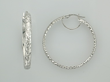 14KT white textured hoops