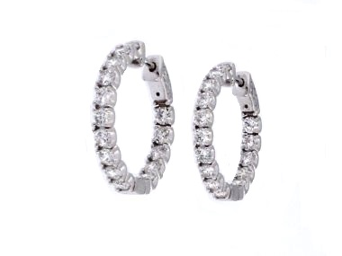 3.65 ctw Diamond Hoops
