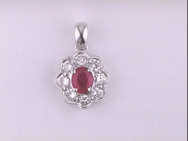 18kw Ruby And Diamond Pendant