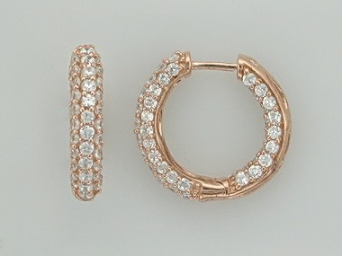 Silver hoops with cubic zirconia