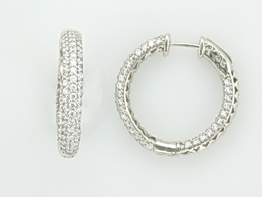 Silver Locking Hoop Earrings