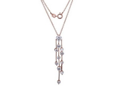 Rose Cubic Dangle Necklace